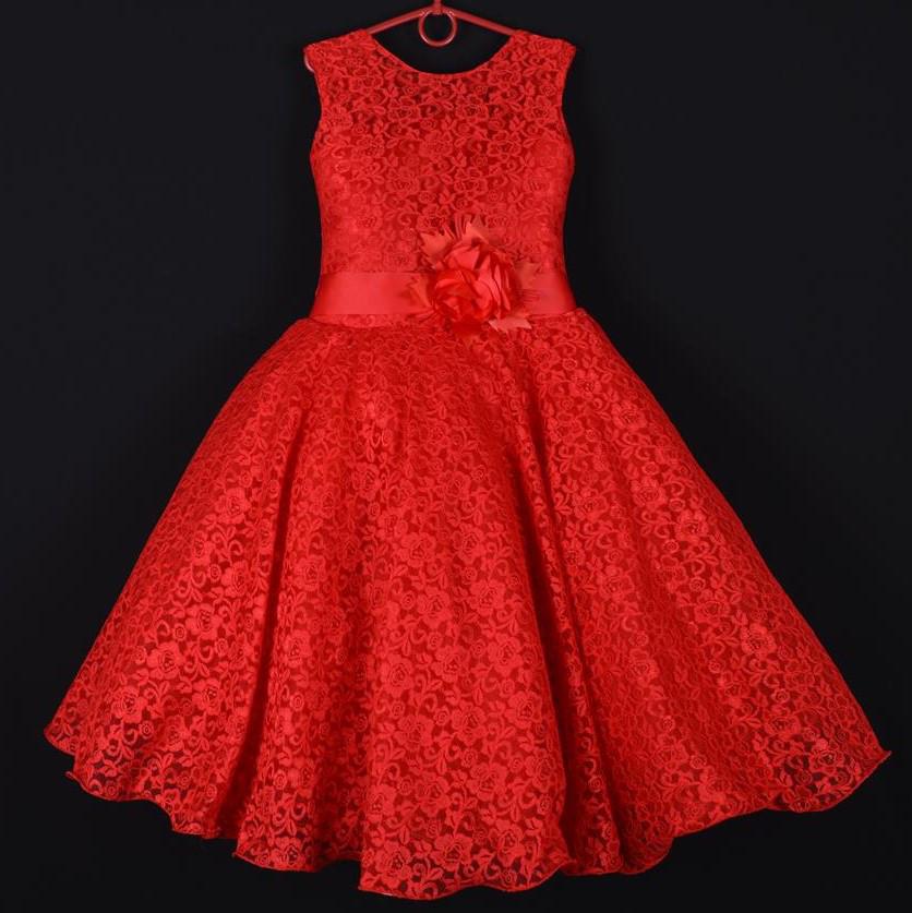 """Платье нарядное подростковое гипюровое """"Камила"""". 9 лет. Средняя длина. Красное. Оптом и в розницу"""