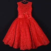 """Платье нарядное подростковое гипюровое """"Камила"""". 9 лет. Средняя длина. Красное. Оптом и в розницу, фото 1"""