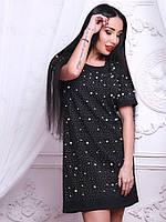 Трикотажные платья с жемчугом и бисером (пудра и черный)