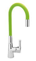 """Смеситель кухонный """"FLEXIBLE"""" FALA с гибким эластичным изливом цветной,цвет Зеленый,Польша"""