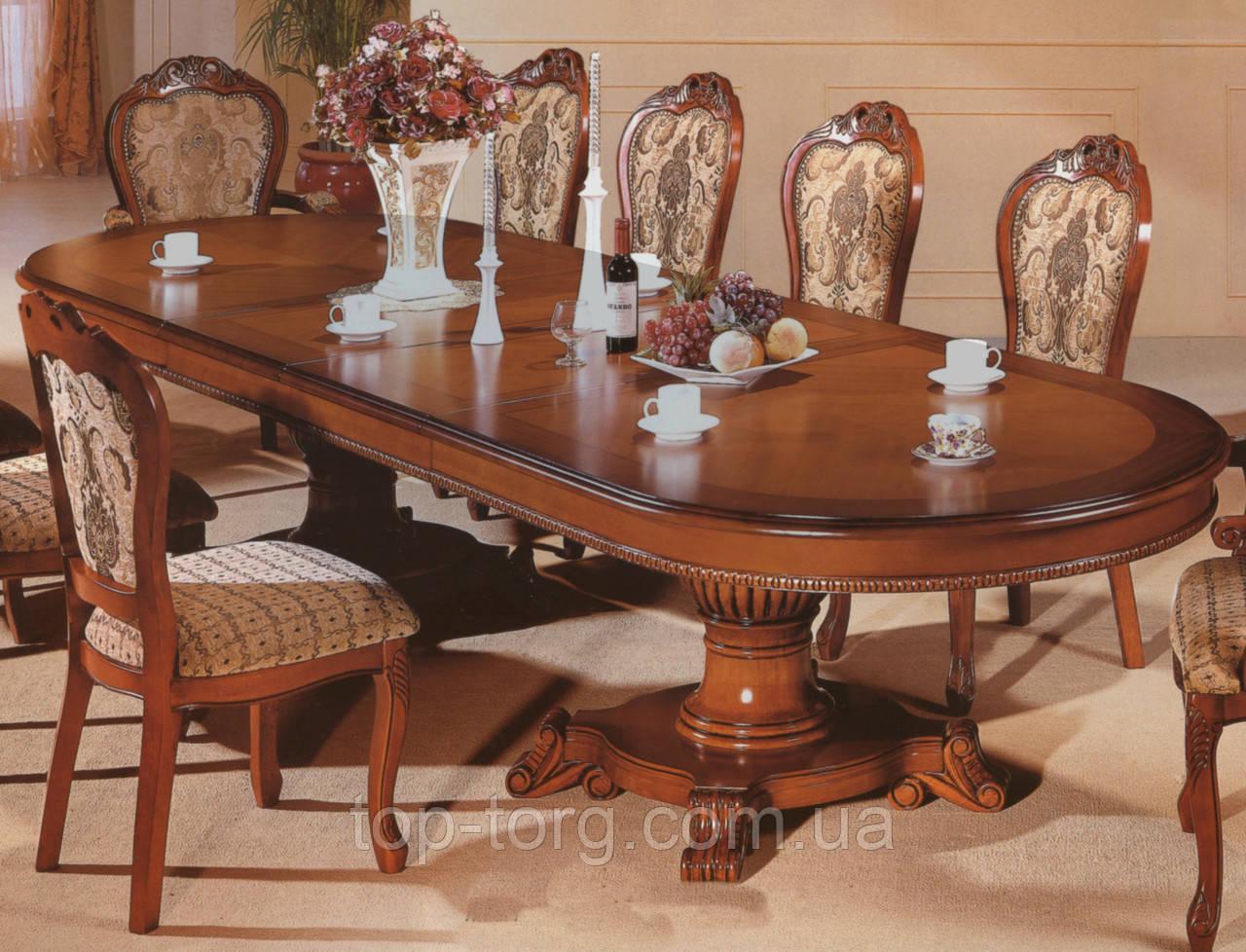 Стол большой JF-809, JF809, JF 809, классический, деревянный, в гостинную, раскладной, престижный