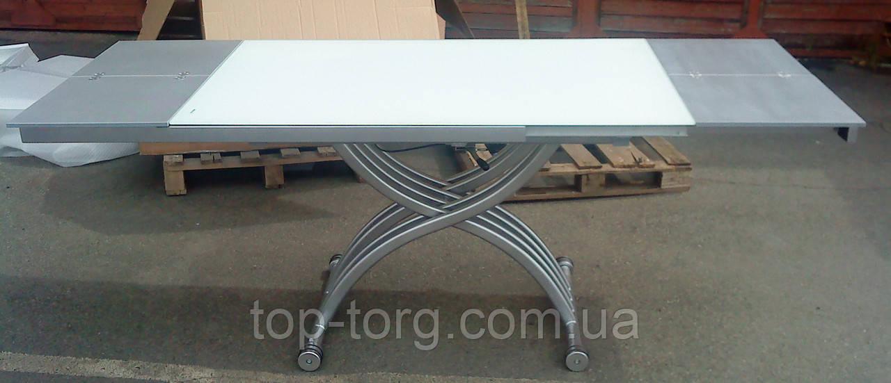 Стол трансформер B2109-3 белый, стеклянный, стекло, регулируетсяпо высоте