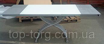 Стіл трансформер B2109-3 білий, скляний, скло, регулируетсяпо висоті