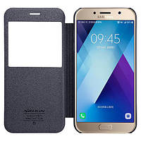 Кожаный чехол (книжка) Nillkin Sparkle Series для Samsung A720 Galaxy A7 (2017) Черный