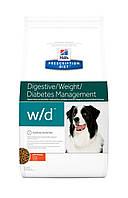 Hill's PD Canine W/D-1.5кг корм для собак при заболевании сахарным диабетом,для снижения веса