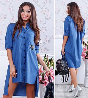 Платье рубашка сзади удлиненное 74/100, фото 2