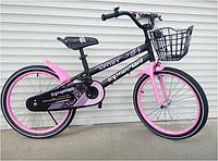 Спортивный велосипед topRider-01 20 дюймов  с корзиной цвет розовый