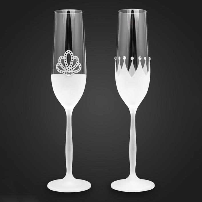 Свадебные бокалы для молодых с Swarovski, в виде корон