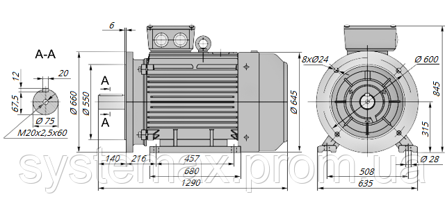 АИР315М2 / АИР 315 М2 / IM 2081 / IM2081 / комб / комбинированный / фланцевый / 200 кВт / 3000 об/мин