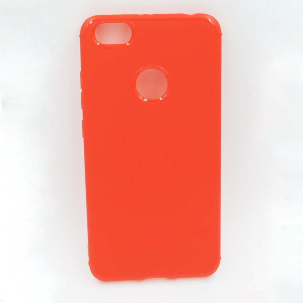 Чехол накладка для Xiaomi Redmi Note 5A силиконовый, Фактура металла, Красный
