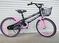 Спортивный подростковый велосипед topRider-01 с корзиной 18 дюймов  цвет розовый