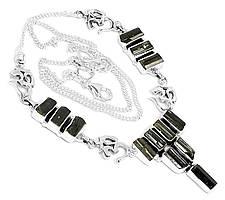 Шерл черный турмалин, серебро 925, колье, 379БСШ