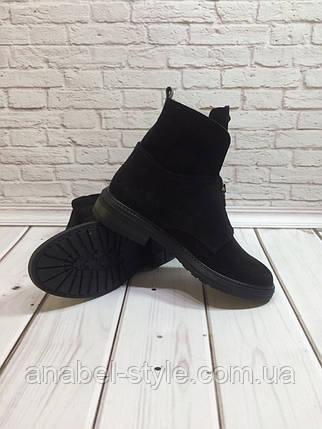Ботинки осенне-весенние женские из натуральной замши черные молния спереди Код 1430, фото 2
