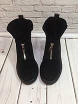 Ботинки осенне-весенние женские из натуральной замши черные молния спереди Код 1430, фото 3