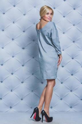 Повседневное платье  светло-серое. Размеры до 56, фото 2