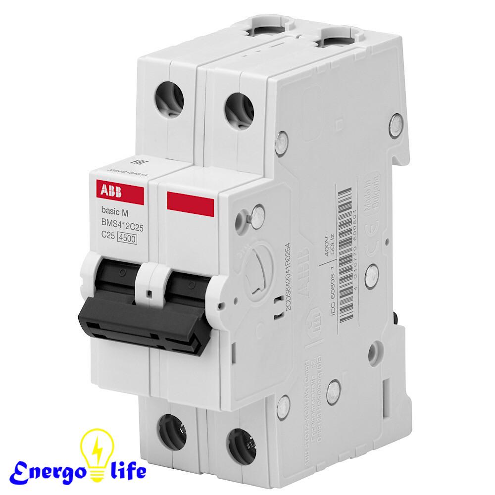Выключатель автоматический ABB Basic M 2pol  C6A, предотвращающий скачки напряжения в сети, BMS412C06