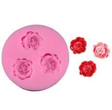 "Молд для мастики ""Три розы"" - диаметр 4,7см, силкон"