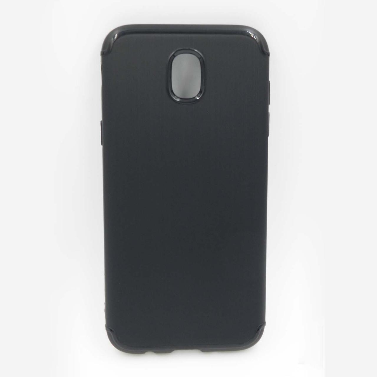 Чехол накладка для Samsung Galaxy J7 2017 J730 силиконовый, Фактура металла, Черный