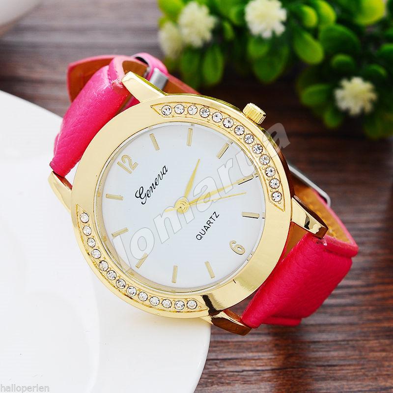 Женские часы Geneva diamond Pink