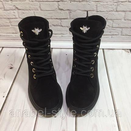 Ботинки Gucci осенне-весенние женские из натуральной замши черные на шнуровочке Код 1432-1, фото 2