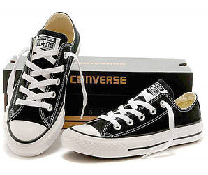 Женские кеды Converse All Star черные с белым низкие (реплика)