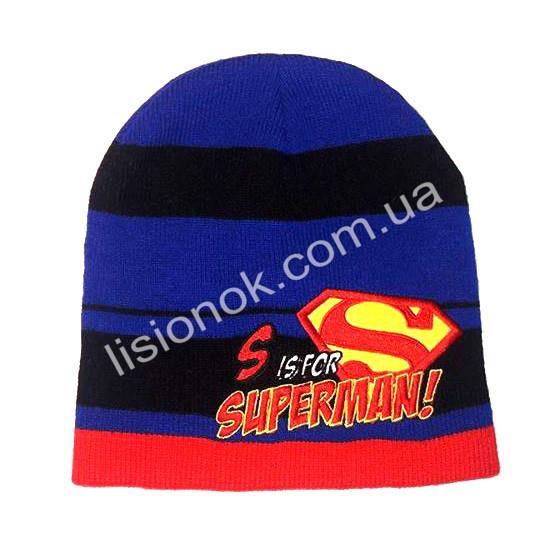 Вязанная шапка Супер-мен 50-54см
