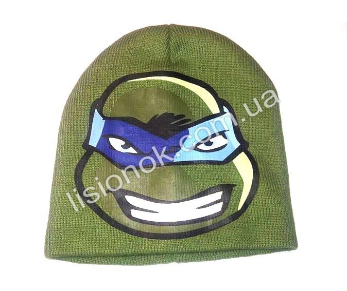 Вязанная шапка Ниндзя черепашки 50-52 см