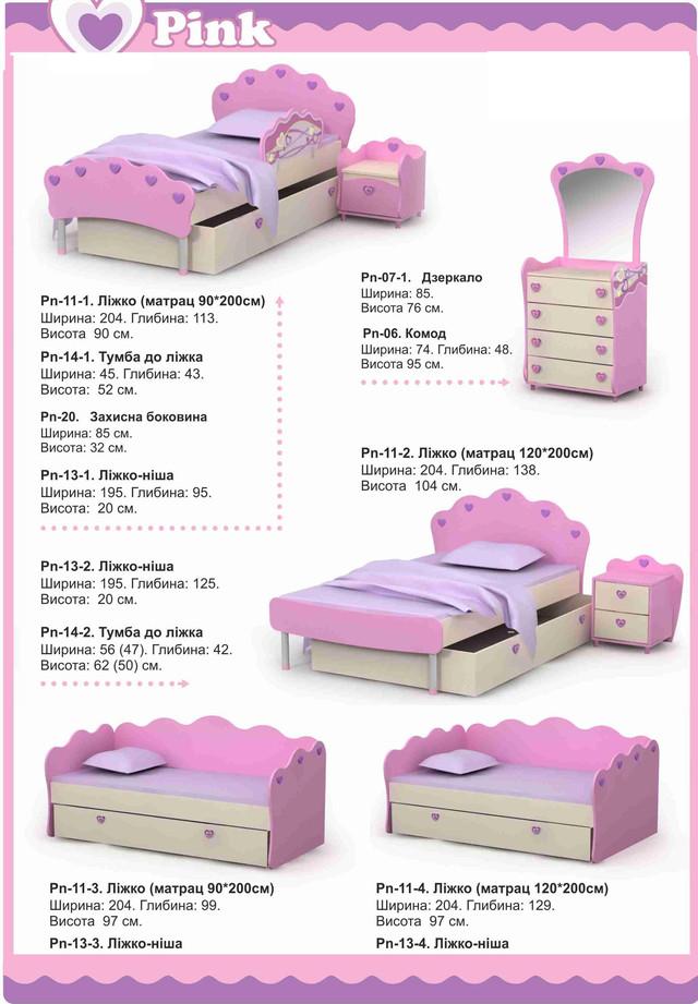 Кровати детские из серии мебели Pink (ассортимент)