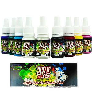 Краска для ногтей на водной основе JVR colours (набор 8х10ml и очиститель 10мл)