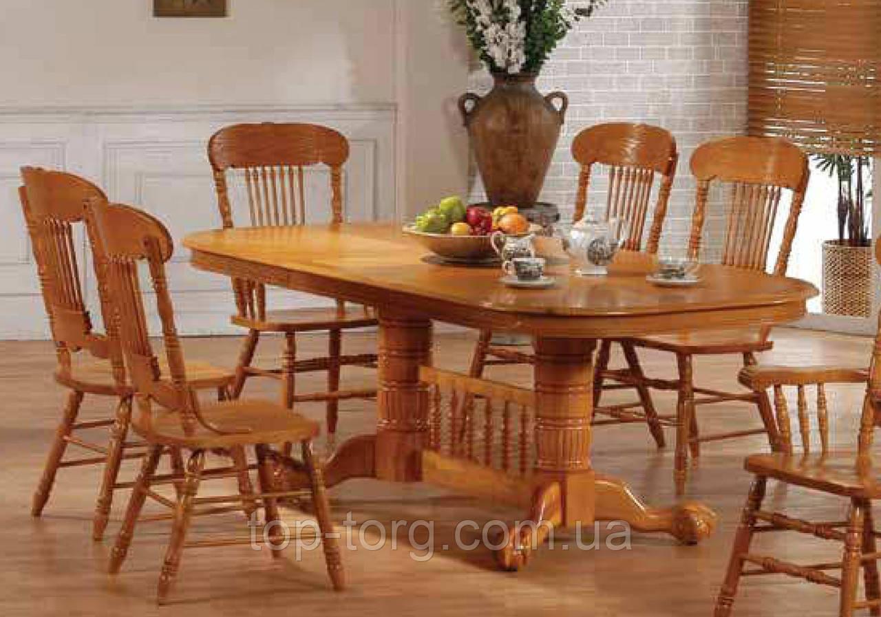 Стол обеденный раскладной 4296-3 дуб кантри, овальный, 2 вставки