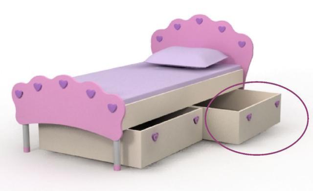 Кровать под матрас 800х1600 Pn-11-9 Pink + ящик выдвижной Pn-15-9