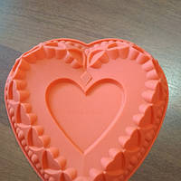 Форма силиконовая Сердце большое с сердцами, фото 1