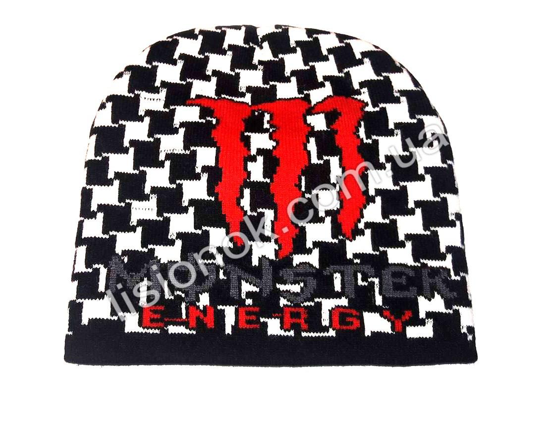 Вязанная шапка бело-черная 50-52см