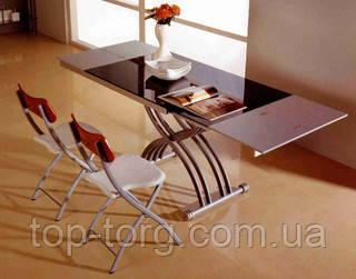 Стол трансформер B2109-3 черный с блестками, стеклянный, по высоте