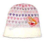 Белая шапка с сердечками Золушка 46-48см