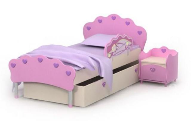 Кровать под матрас 800х1600 Pn-11-9 Pink + ящик выдвижной Pn-13-9 + защитный бортик Pn-20