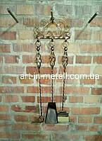 """Настенный набор """"Ажур корзинка"""" из 3 х аксессуаров для камина, мангала или печи"""