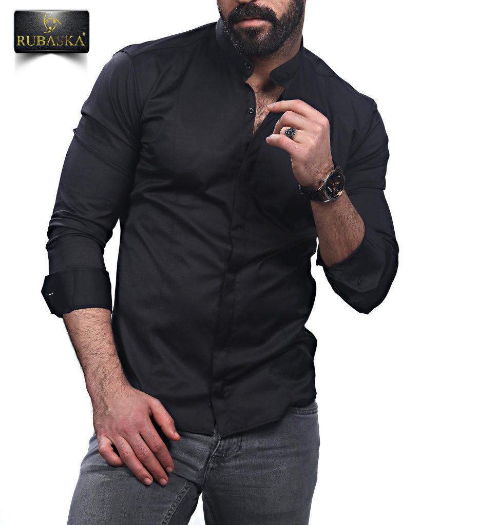 93b3659a20e Мужская черная приталенная рубашка - SPI-shop в Киеве