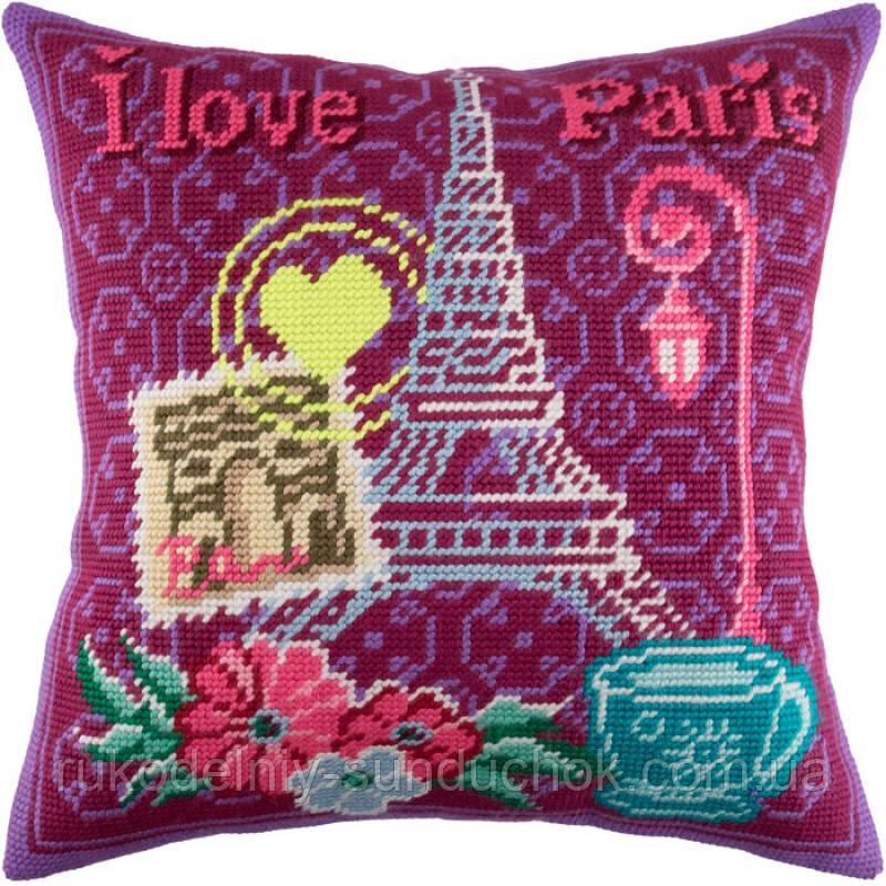 Набор для вышивки крестом Чарівниця V-175 Париж, люблю тебя!. Подушка