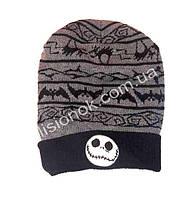 Вязанная шапка Кошмар перед Рождеством 52-54см с напуском назад (глубокая)