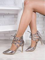 Женские серебристые туфли - босоножки