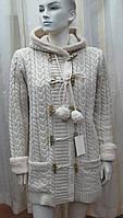 Пальто вязаное на меху