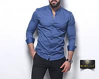 Мужская синяя приталенная рубашка, фото 1