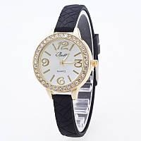 Часы женские на тонком силиконовом ремешке 110-2 Черные