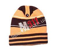 Вязанная шапка коричневая 46-48см