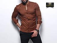 Мужская коричневая приталенная рубашка, фото 1