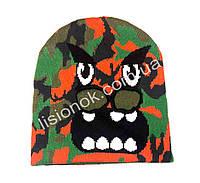 Вязанная шапка с вырезанными глазами 50-54см идеально для лыж, фото 1