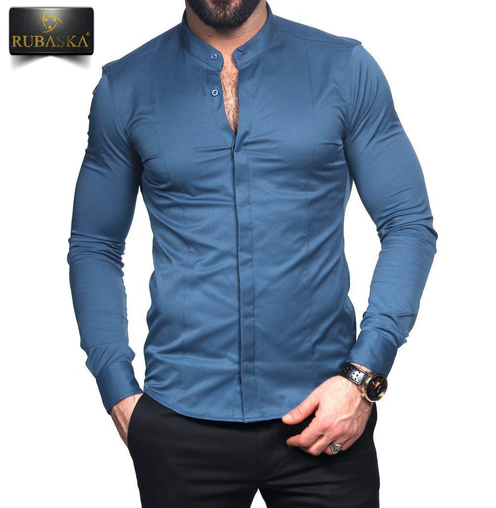 09b124213baffda Мужская синяя приталенная рубашка, цена 490 грн., купить в Киеве ...