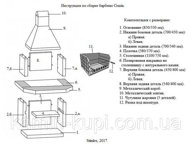 Схема установки барбекю Stimlex Carsia BPF