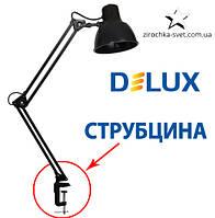 Настольная лампа на струбцине черная DELUX TF-06